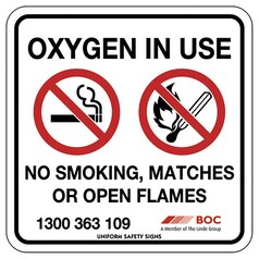 BOC Oxygen in Use Sign