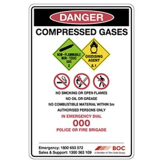 All in One Compressed Gases Storage Safety Sign