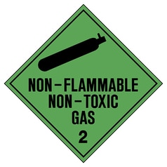 Non-Flammable, Non-Toxic Gas 2 Hazchem Sign