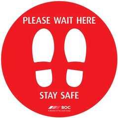 Please Wait Footprint Sign