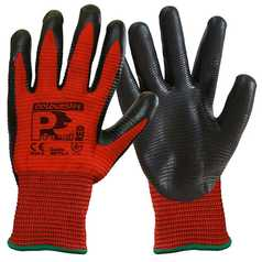 Coloursafe PredRed Nitrile Foam Ribbed Glove