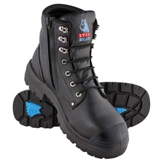 Steel Blue Argyle Zip Sided Safety Boot with Steel Toecap, Bumpcap and TPU Outsole