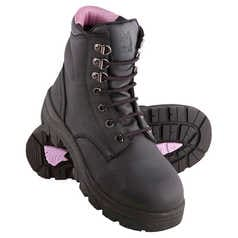 Steel Blue Argyle Women's Lace-Up Safety Boot with Steel Toecap and TPU Outsole