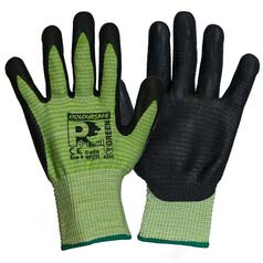 Coloursafe PredGreen Nitrile Foam Ribbed Gloves